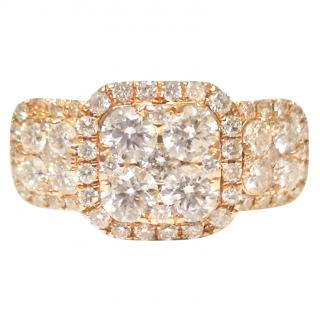 Bespoke Rose Gold Diamond Cluster Ring 1.66ct 18ct Gold