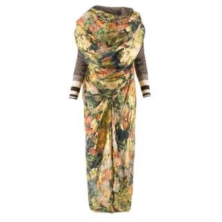 Vivienne Westwood Brown Knit with Floral Draping Dress
