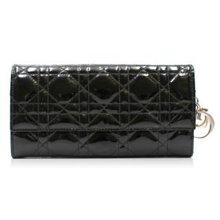 Christian Dior Lady Dior Croisiere Black Patent Wallet