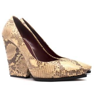 Celine Python Block Heel Pumps