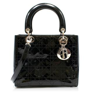 Dior Black Patent Leather Medium Lady Dior Bag