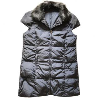 Prada navy jacket with fur collar