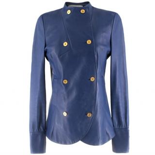 Yves Saint Laurent Blue Leather Jacket