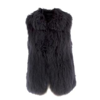 Theory Black Raccoon Fur Gilet