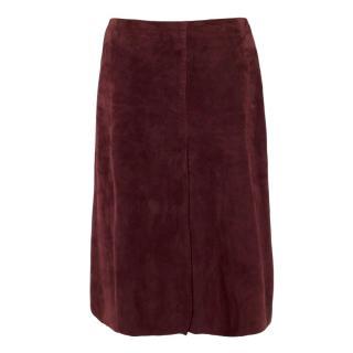 Joseph Burgundy Suede A-line Midi Skirt