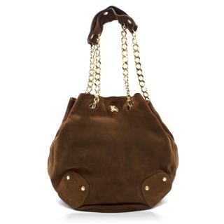 Burberry Brown Suede Bucket Bag
