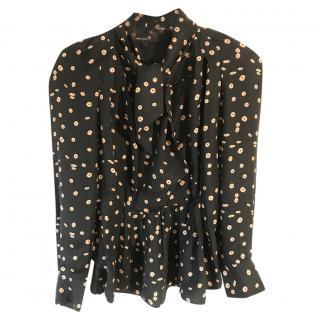 Isabel Marant black pleated silk blouse