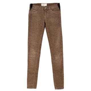 Current Elliott Brown Corduroy Leopard Print Jeans