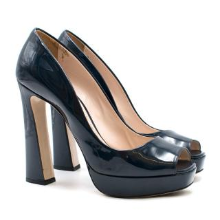 Miu Miu Navy Patent Leather PeepToe Pumps