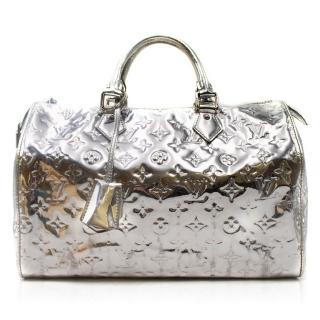 Louis Vuitton Silver Monogram Mirror Speedy 35 Bag