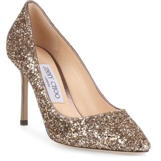 Jimmy Choo Rommy 85 gold pointed heels