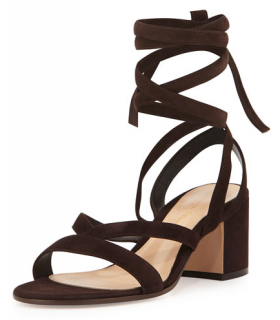 Gianvito Rossi Suede Lace-Up Gladiator Sandal