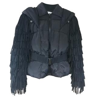 Balmain Black Nylon Down Filled Fringe Hooded Coat