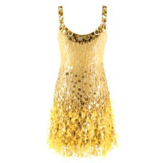 Jenny Packham Gold Sequin & Feather Embellished Flapper Dress