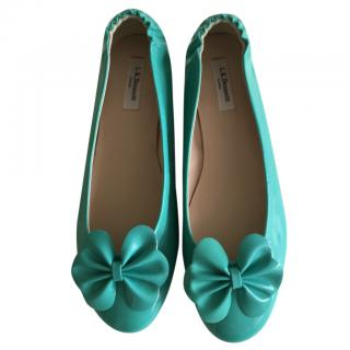 LK Bennett flat turquoise patent leather shoes