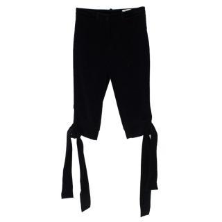 Yves Saint Laurent Black Velvet Bow Hemmed Cropped Trousers