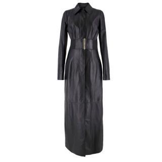 Jitrois Black Leather Full Length Coat