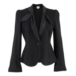 Armani Collezioni Wool-blend Satin Collared Blazer