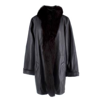 Bespoke Black Leather Coat with Fox Fur Collar