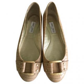 Jimmy Choo beige leather ballet pumps