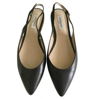 LK Bennett black leather flat sling back shoes size 41/8