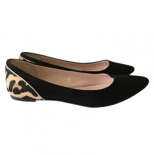 Dune flat suede pointed toe shoes black/leopard print size 41