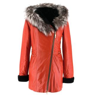 Vizyon Red Leather & Fox Fur Hooded Coat