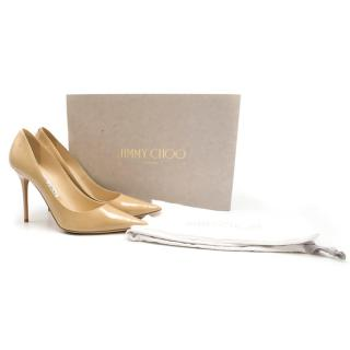 Jimmy Choo Patent Leather Nude Abel Pumps