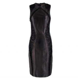 Trussardi Black Leather Lace Up Dress