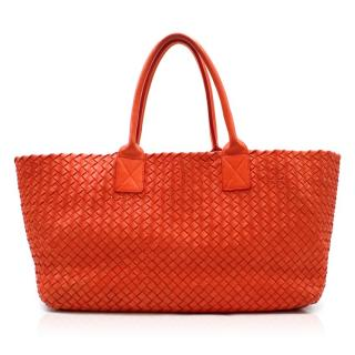 Bottega Veneta Red Intrecciato Leather Tote