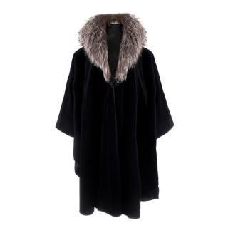 Weinberg Paris Black Cape with Fox Fur Collar
