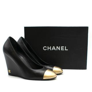 Chanel Black Leather Gold Toe-cap Wedges