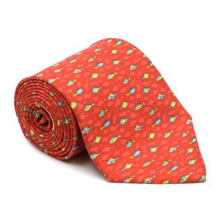 Salvatore Ferragamo Fish Patterned Silk Tie