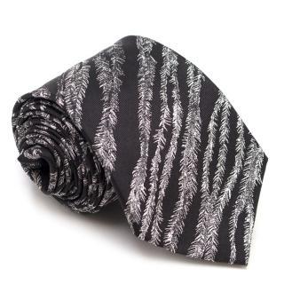 Alexander McQueen Black Ostrich Print Tie
