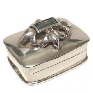 Bespoke Continental sterling silver & Aquamarine Pill Box
