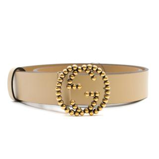 Gucci Nude Leather GG Buckle Belt