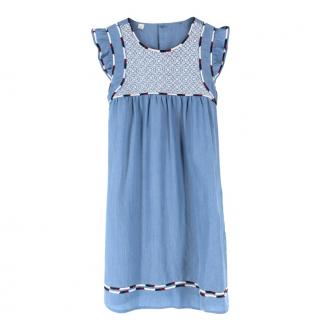 Les Coyotes De Paris Sadie Chambray Girl's Embroidered Dress