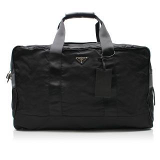 Prada Black Logo Nylon Weekender Travel Bag