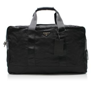 Prada Black Logo Nylon Weekender Travel Bag