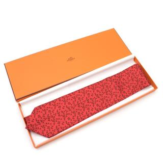 Hermes Red Silk Tie with Leaf Print