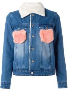 SJYP fluffy flap pocket denim jacket