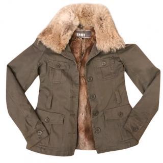 Yves Salomon green fur lined jacket size EU 36 RRP �1285