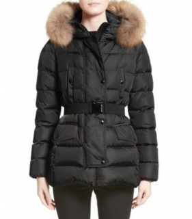 Moncler Clio Belted Down Puffer Coat With Removable Fox Fur Trim