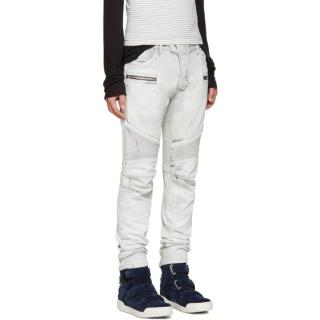 Balmain men's light grey biker jeans