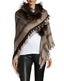 Gucci GG Wool & Fox Fur Stole