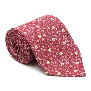 Salvatore Ferragamo Red Floral Fox Print Silk Tie