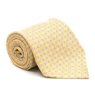 Salvatore Ferragamo Yellow Butterfly Pattern Silk Tie