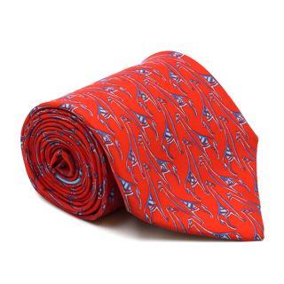 Salvatore Ferragamo Red Giraffe Pattern Silk Tie