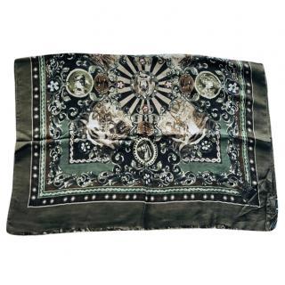 Dolce & Gabbana Men's Green Sicily Print Scarf