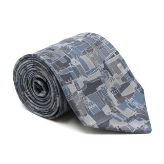 Salvatore Ferragamo Abstract Grey City Print Silk Tie